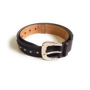 MICHAEL KORS Dark Brown Leather Studded Belt M